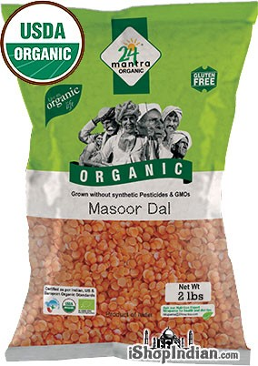 24 Mantra Organic Masoor Dal (Red Lentil) - 2 lbs
