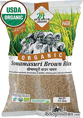 24 Mantra Organic Brown Sona Masoori Rice - 10 lbs