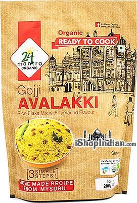 24 Mantra Organic Gojji Avalakki (Rice Flakes Mix with Tamarind Flavor) - Ready to Cook