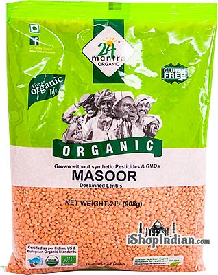 24 Mantra Organic Masoor Whole without Skin (Masoor Malka) - 2 lbs