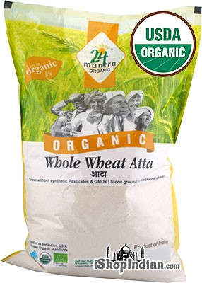 24 Mantra Organic Premium Whole Wheat Flour (Atta) - 10 lbs