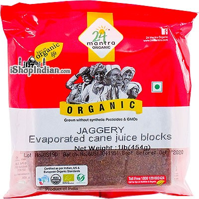 24 Mantra Organic Jaggery - Evaporated Cane Juice Block