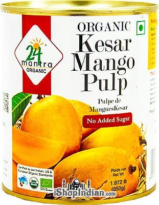 24 Mantra Organic Kesar Mango Pulp - No Added Sugar