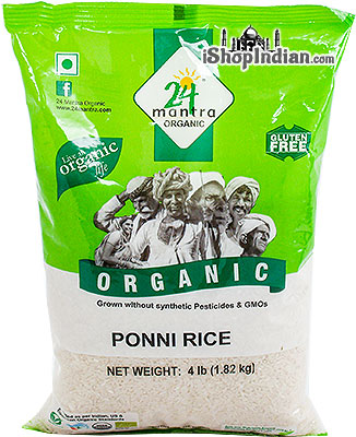 24 Mantra Organic Ponni Rice (raw) - 4 lbs