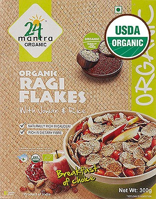 24 Mantra Organic Ragi Flakes With Sorghum & Rice - Breakfast Cereal