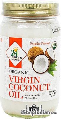 24 Mantra Organic Virgin Coconut Oil - Expeller Pressed - Unrefined