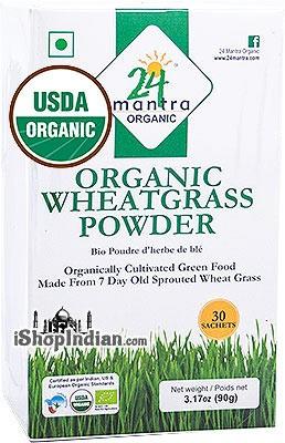 24 Mantra Organic Wheat Grass Powder - 30 Sachets