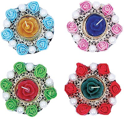 Floating Diya- Roses - 4 Pack (#74565)