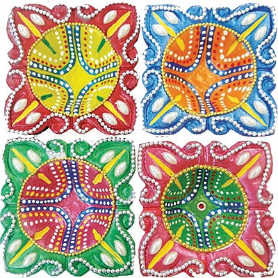 Traditional Square Diya - 4 Pack (#89866)
