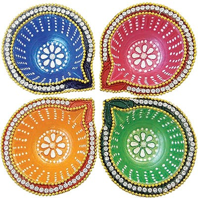 Round Diamond Diya - 4 Pack (#89873)