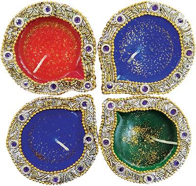 Gold Diwali Diya - Circle - 4 Pack (#89945)