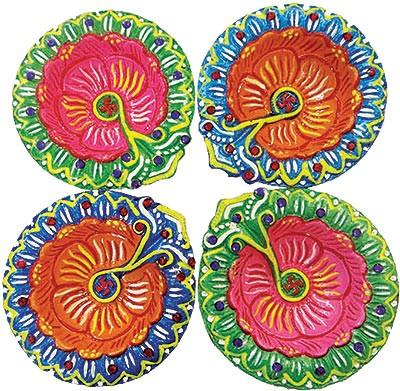 Vibrant Diwali Diya - 4 Pack (#90125)