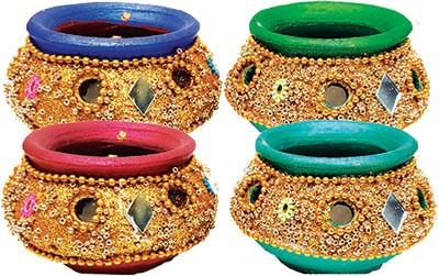 Bandhani Matki Diya - 4 Pack (#91222)