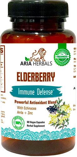 Aria Herbals Elderberry - Immune Defense - Powerful Antioxidant Blend - 60 caps