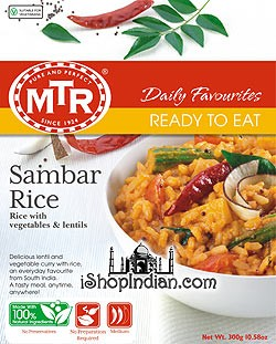 MTR Sambar Rice - Rice with Vegetables & Lentils (Ready-to-Eat)