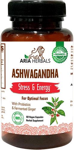 Aria Herbals Ashwagandha - Stress Reliever - For Optimal Focus - 60 ct