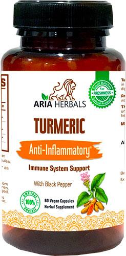 Aria Herbals Turmeric - Anti-Inflammatory - Immune System Support - 60 caps