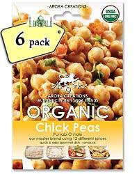 Arora Creations Organic Chick Peas (Punjabi Chhole) Masala - 6 PACK