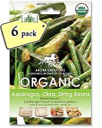 Arora Creations Organic Green Veggie (Asparagus, Okra, String Beans) Masala - 6 PACK