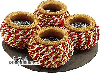 Dandiya Matki Diya (Red) - 4 Pack