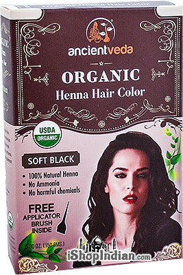 Ancient Veda Organic Henna Hair Color - Soft Black