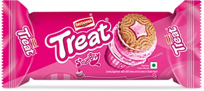 Britannia Treat Biscuits - Strawberry Cream Flavor