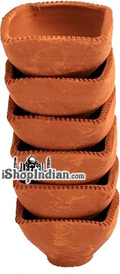 "Plain Clay Diyas 4-Sided (Small - 2.5"") - 6 Pack"
