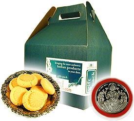 Kesar Penda and Laxmi Silver Coin Gift Set
