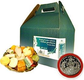 Mixed Sweets and Laxmi Silver Coin Gift Set