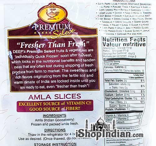 Deep Amla Slices (Indian Gooseberry Slices) (FROZEN) - back