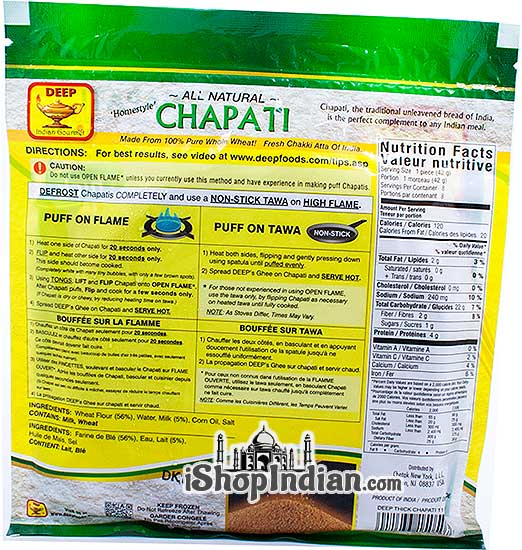 Deep Homestyle Chapati (Thick) - 8 pcs (FROZEN) - Back
