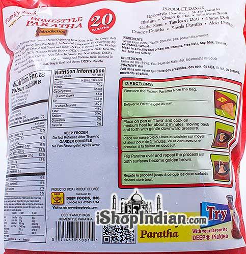 Deep Homestyle Paratha - 20 Pcs - Family Pack (FROZEN) - Back