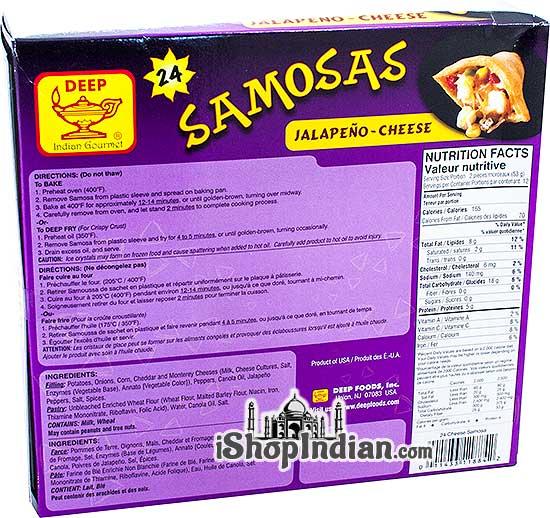Deep Samosas - Jalapeno & Cheese - 24 pcs (FROZEN) - Back