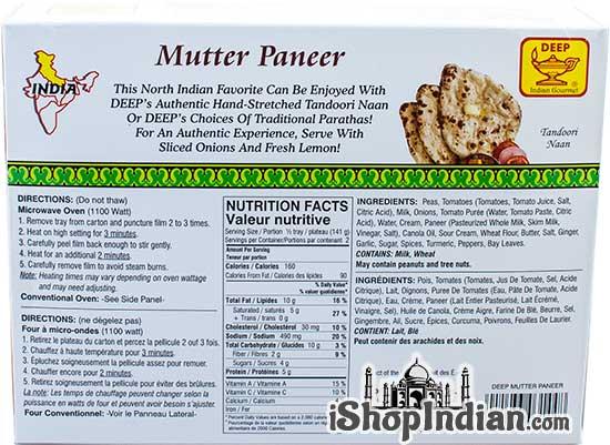 Deep Mutter Paneer (FROZEN) - Back