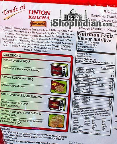 Deep Onion Kulcha - 4 pcs (FROZEN) - Back