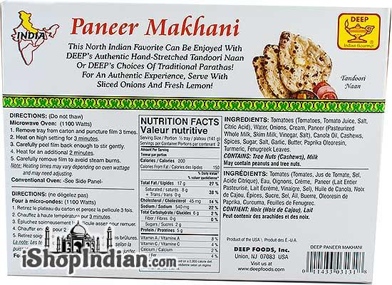 Deep Paneer Makhani (FROZEN) - Back