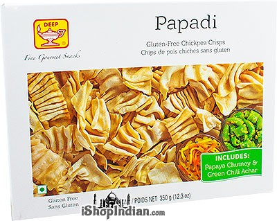 Deep Papadi with Chutney & Pickle - Gluten-Free Chickpea Crisps