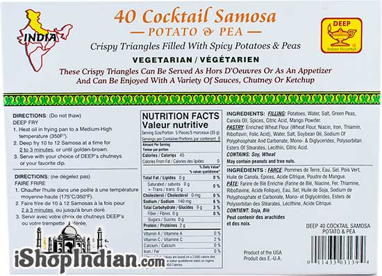 Deep Cocktail Samosa - 20 pcs (FROZEN) - Back
