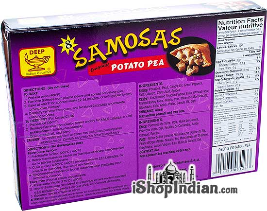 Deep Samosas - Potato & Pea - 8 pcs (FROZEN) - back