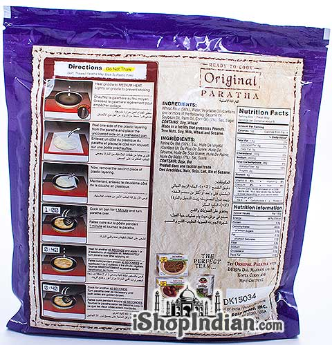 Deep Ready to Cook Original Paratha - 5 pcs (FROZEN) - back