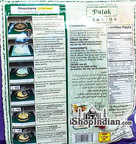 Deep Ready to Cook - Palak Paratha - 5 pcs (FROZEN) - Back