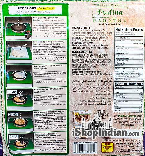 Deep Ready to Cook - Pudina (Mint) Paratha - 5 pcs (FROZEN) - back
