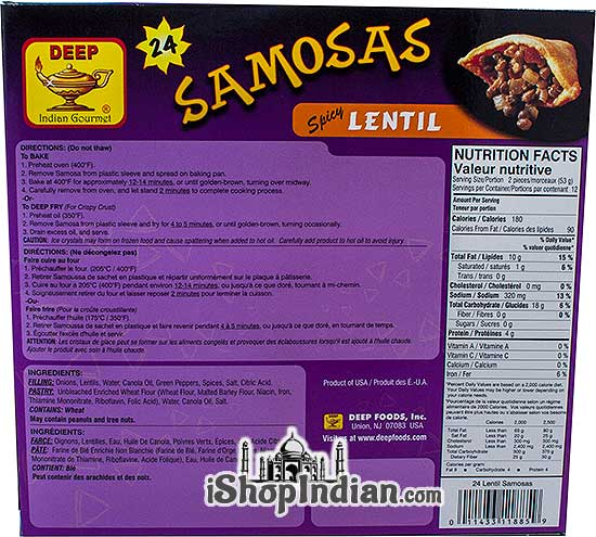 Deep Samosas - Spicy Lentil - 24 pcs (FROZEN) - Back
