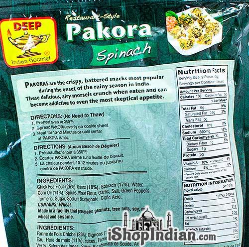 Deep Pakora Spinach (FROZEN) - back