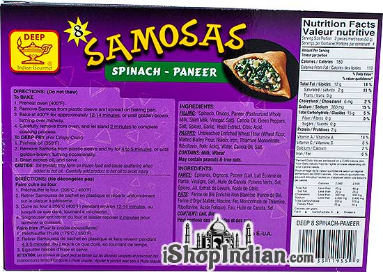 Deep Samosas - Spinach-Paneer - 8 pcs (FROZEN) - Back