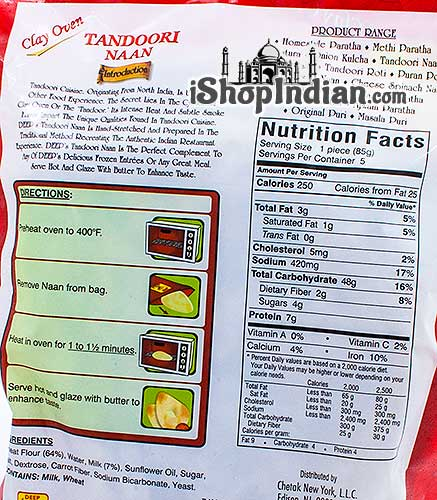 Deep Tandoori Naan - 5 pcs (FROZEN) - Back