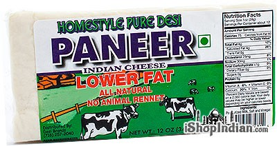 Homestyle Pure Desi Paneer - Indian Cheese - Lower Fat (FROZEN)