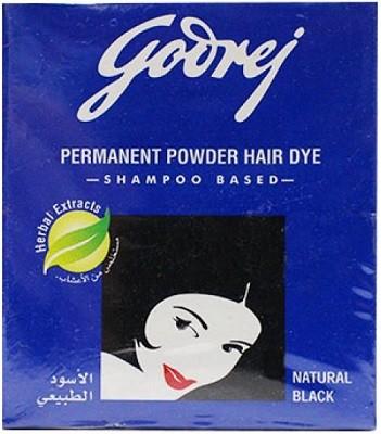Godrej Permanent Powder Hair Dye (Shampoo Based) Natural Black