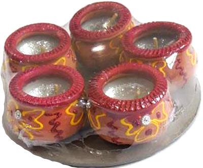 Gujarathi Matki Diya with Wax - 5 Pack
