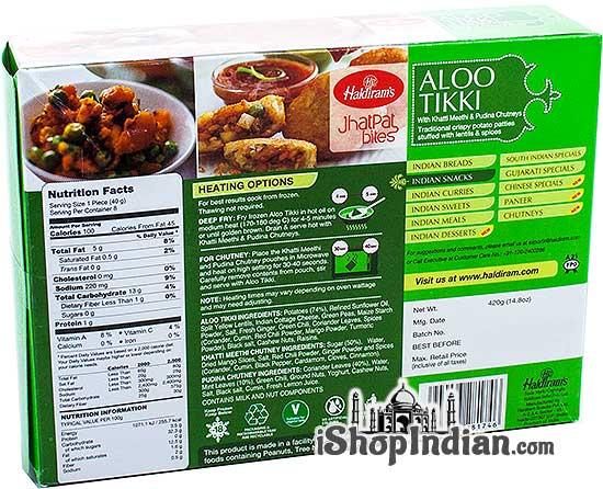 Haldiram's Aloo Tikki (FROZEN) - Back